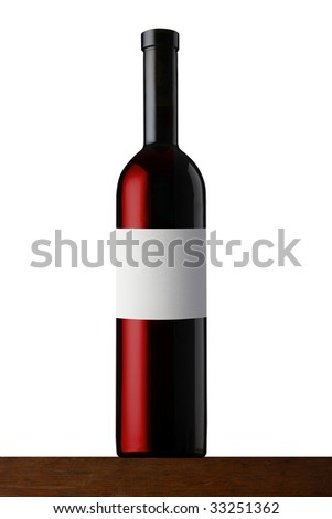 Red wine bottle on wood in red color