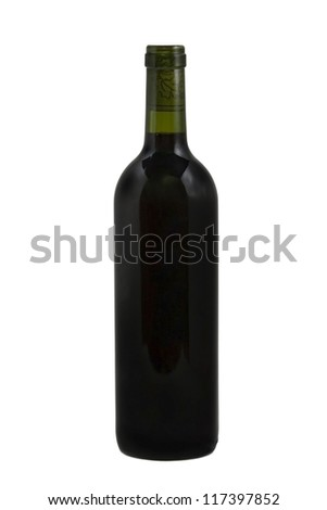 Red Wine bottle over white isolated background