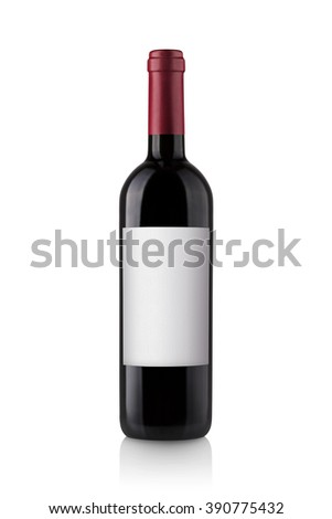 red wine bottle with label isolated on white background