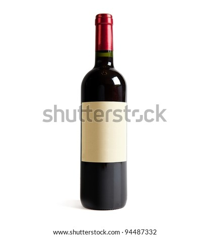 Red wine bottle, with real paper blank label. Isolated on white. - stock photo