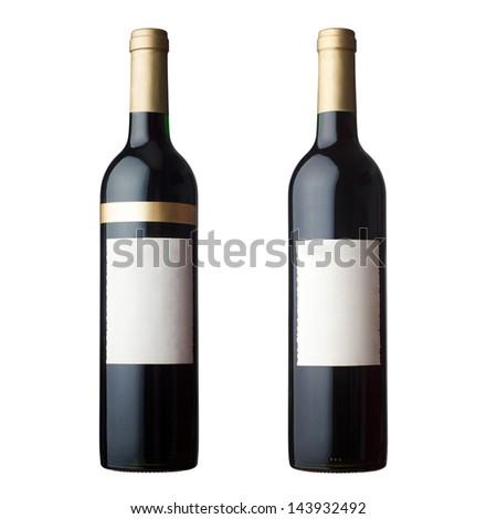 red wine bottles - stock photo