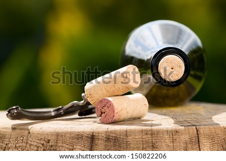 Red wine bottles with wooden corks on green background - stock photo