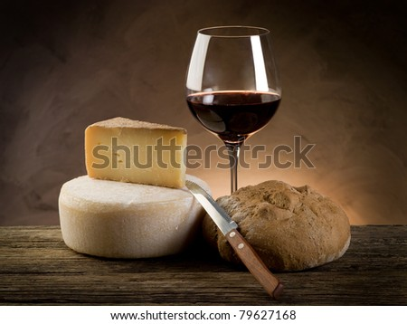 red wine bread and cheese - stock photo
