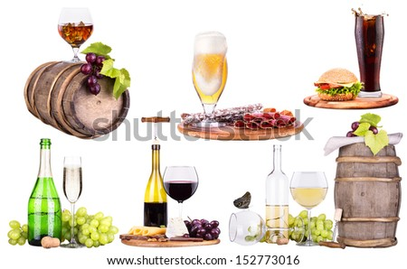 red wine, champagne,beer,alcohol cocktail  with corkscrew,grape,Blue berrie, ice bucket on a vintage wooden table isolated - stock photo