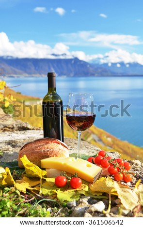 Red wine, chees, bread and cherry tomatos. Lavaux, Switzerland - stock photo