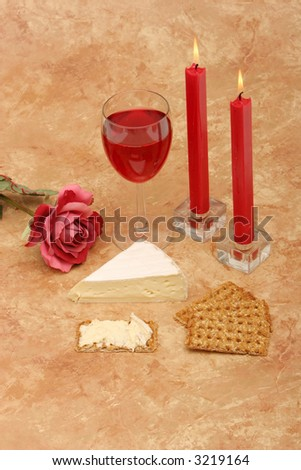 Red wine, cheese and candles