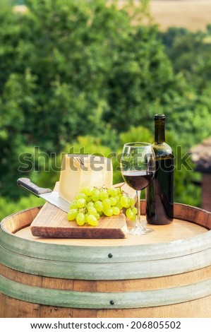 Red wine, cheese and grapes on a background of the Tuscan landscape, Italy