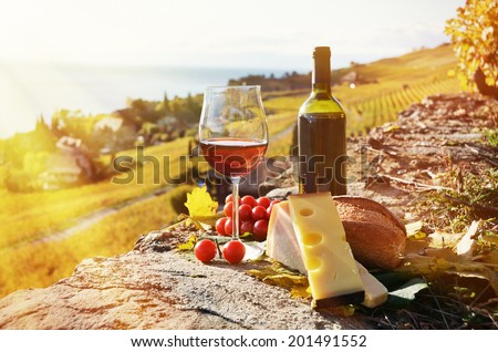Red wine, cheese, bread and cherry tomatoes. Lavaux, Switzerland  - stock photo
