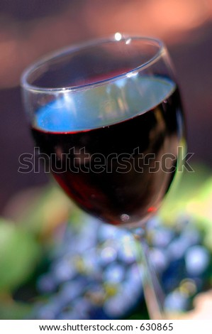 Red wine. Extreme shallow depth of focus . Red vineyard grapes as background element. - stock photo