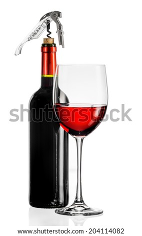 Red wine glass and bottle on a white background