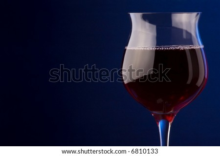 red wine glass bubbles - stock photo