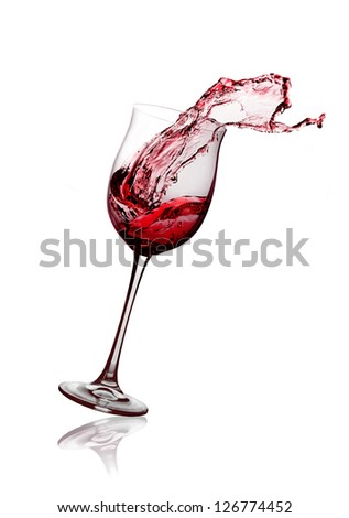 red wine glass on a white background - stock photo