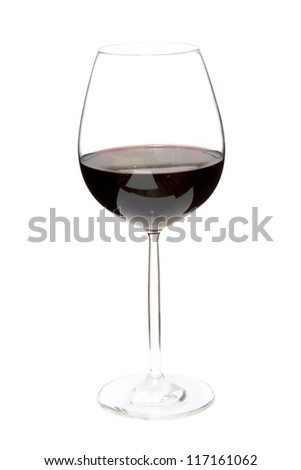 Red wine glass on white background - stock photo