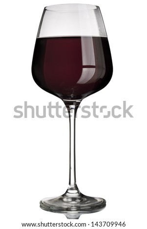Red wine glass on white background with reflection - stock photo