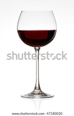 red wine glass over a white background