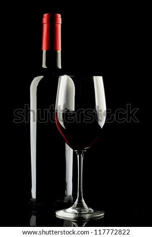 Red Wine Glass silhouette Black Background - stock photo