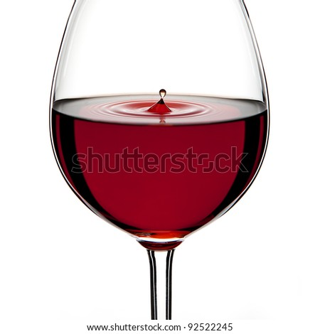 Red Wine Glass silhouette with a Drop on White Background - stock photo
