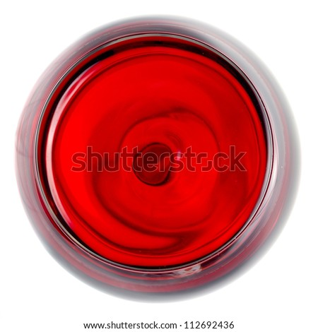 Red wine glass top view - stock photo