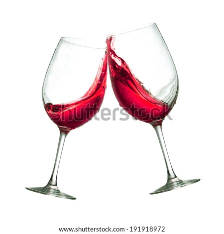 Red wine glasses - stock photo