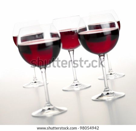 Red wine, 5 glasses - stock photo
