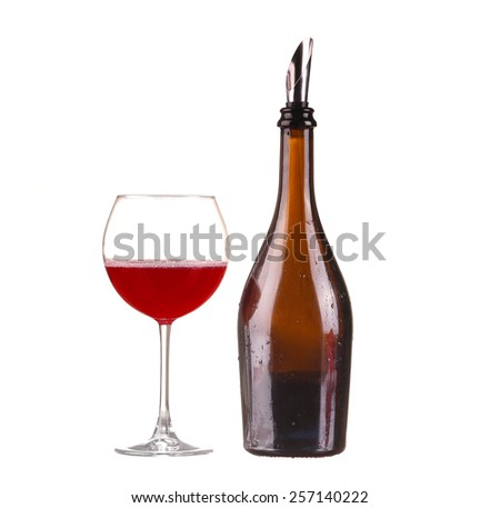 Red wine in a glass isolated on white background - realistic photo image - stock photo