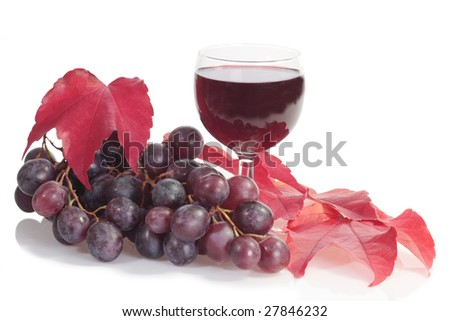 Red wine in a glass with grapes and leaves over white background