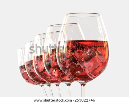 Red wine in a glass with ice - stock photo