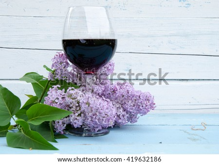 Red Wine In A Wine Glass - stock photo