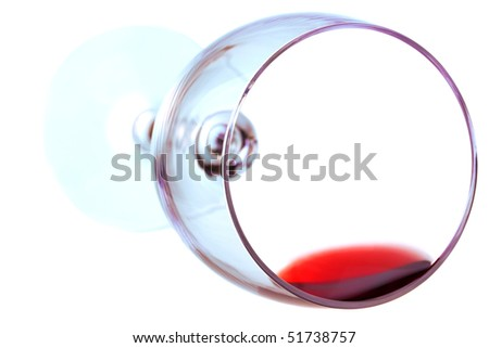 Red wine in a wine glass isolated on white background - stock photo