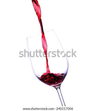 Red wine in glass  - stock photo