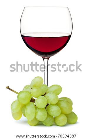 Red wine in glass with grape branch. Isolated on white background - stock photo