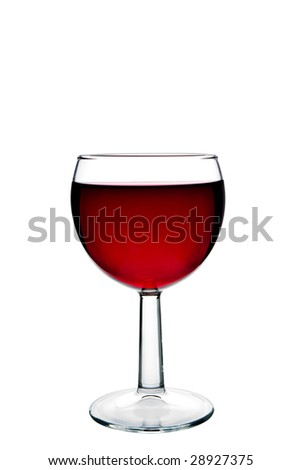 Red wine isolated on a white