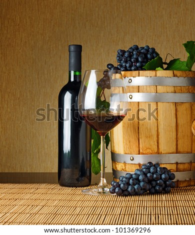 Red wine on the table. - stock photo