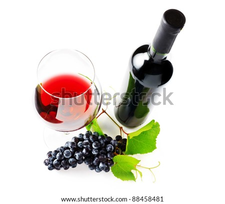 Red wine on withe background.