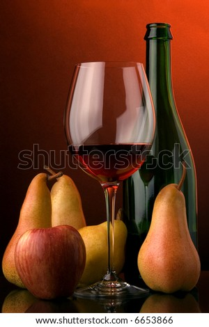 red wine pear apple glass bottle - stock photo