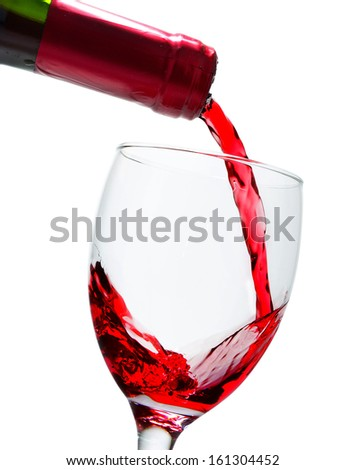 Red wine poured in a glass - stock photo