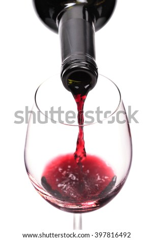 red wine pouring in a glass