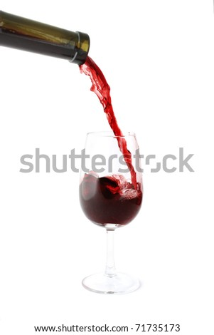 Red wine pouring into a glass. Isolated on white background.