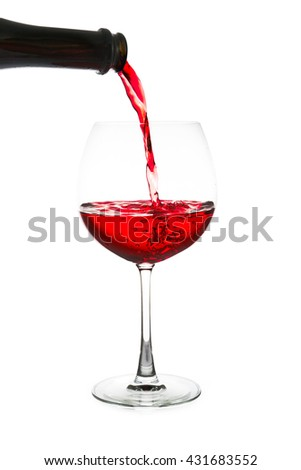 red wine pouring  isolated on white background - stock photo