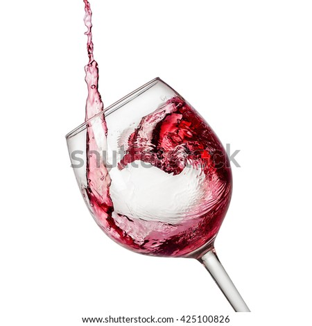 Red wine pouring with vector path included