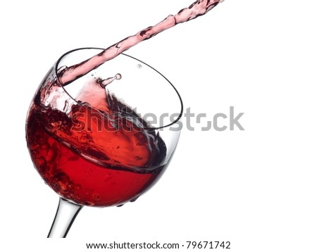 Red wine pouring with waves