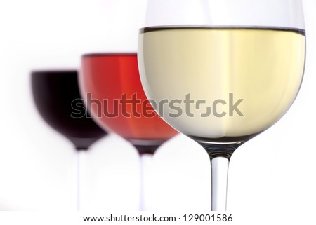 red wine, rose, white wine