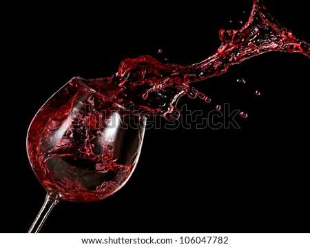 Red wine splash - stock photo