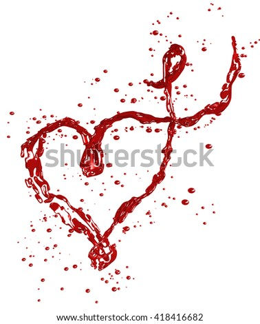 Red wine splash in heart shape isolated on white background. 3D illustration