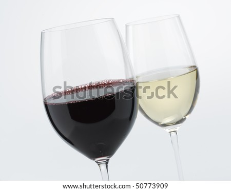 Red Wine, White Wine - stock photo