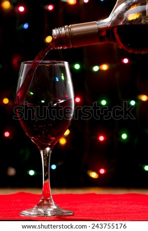 Red Wine with Holiday Lights