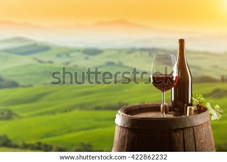 Red wine with wooden barrel on vineyard in Tuscany, Italy - stock photo