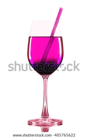 Red wineglass with pink cocktail and straw on a white background isolated - stock photo