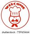 Red Winked Chef Man Face Cartoon Logo - stock vector