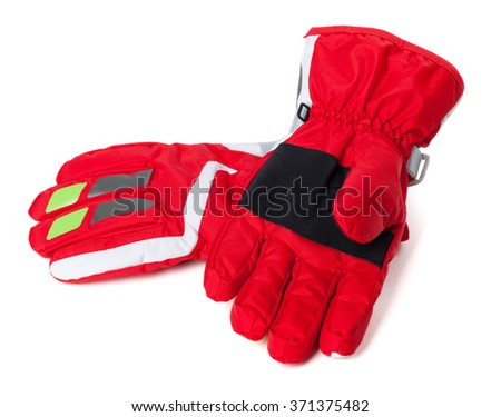 Red winter ski gloves. Isolated on white background  - stock photo